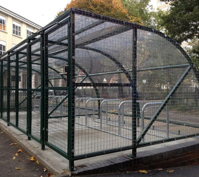 10 Space Extended Front Cycle Shelter - mesh