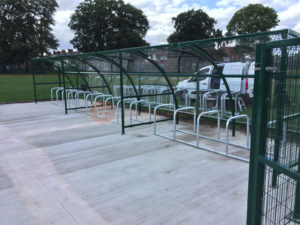 30 Space Original Shelters + Security Fencing - George Eliot