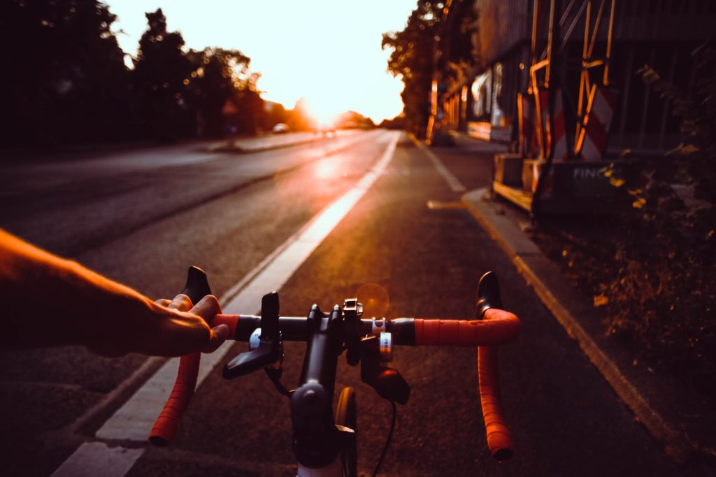 Cycling at dusk